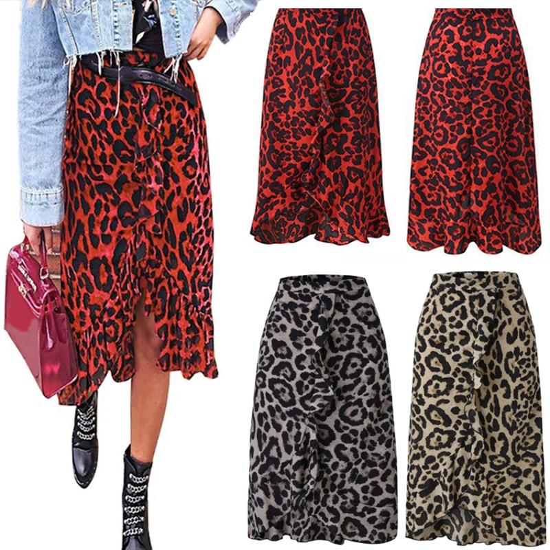 2021 Summer Sexy Women Lace Up Skirts High Waist Ruffles Loose Long Wrap Skirt Ladies Leopard Beach Boho Elegant Female Skirt