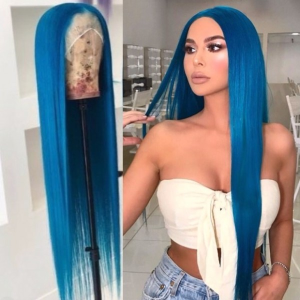 EseeWigs Light Blue Lace Front Human Hair Wig With Baby Hair 13x4 Glueless Lace Long Straight Wig For Black Women Pre Plucked