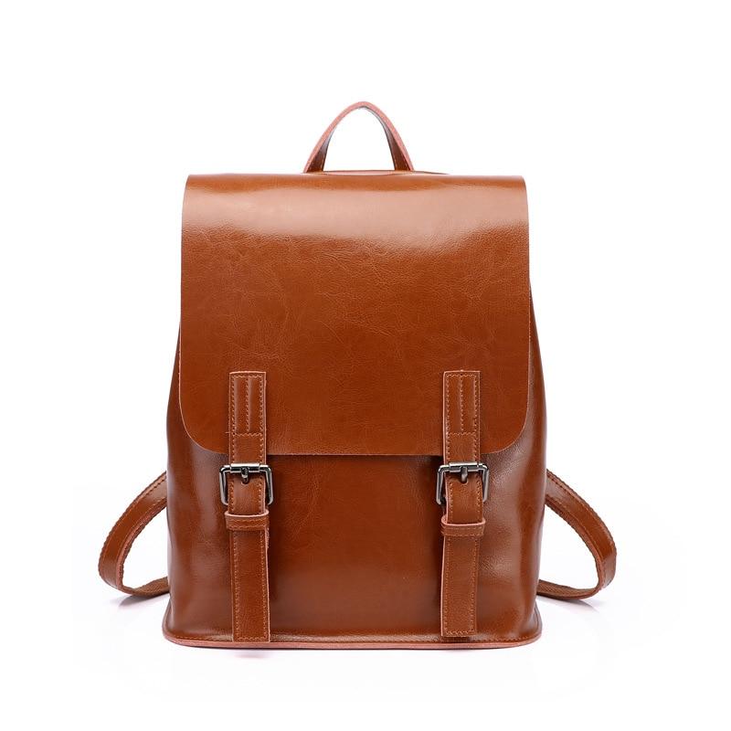 Genuine leather cowhide women large backpack teenager school bags