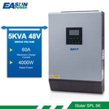 EASUN POWER Solar Inverter 5KVA 4000W 48V 220v 50/60HZ Pure Sine Wave Built in PWM 50A Charge Controller 60A Battery Charger