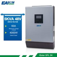 EASUN güç güneş invertör 5KVA 4000W 48V 220v 50/60HZ saf sinüs dalga dahili PWM 50A şarj regülatörü 60A pil şarj cihazı