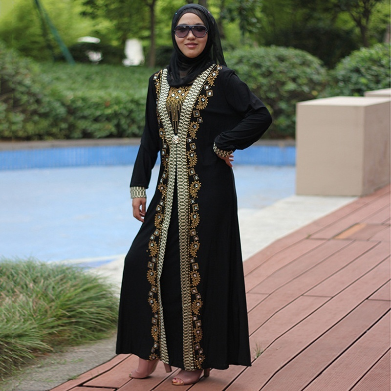 Dubai Arab Islam Abaya Women Muslim Long Dress Sequin Beading Kaftan Robes Elegant Splice Maxi Dresses