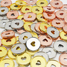 Anneaux de reliure en forme de cœur, en or Rose 35mm, 24 pièces, trou en forme de champignon, pour bricolage, reliure ronde, en plastique, boucle de disque, cerceau, fournitures de bureau
