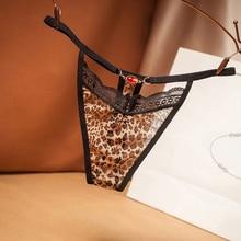 Sexy hollow women leopard thong light luxury lace full transparent temptation low waist female hot panties T pantsG-String