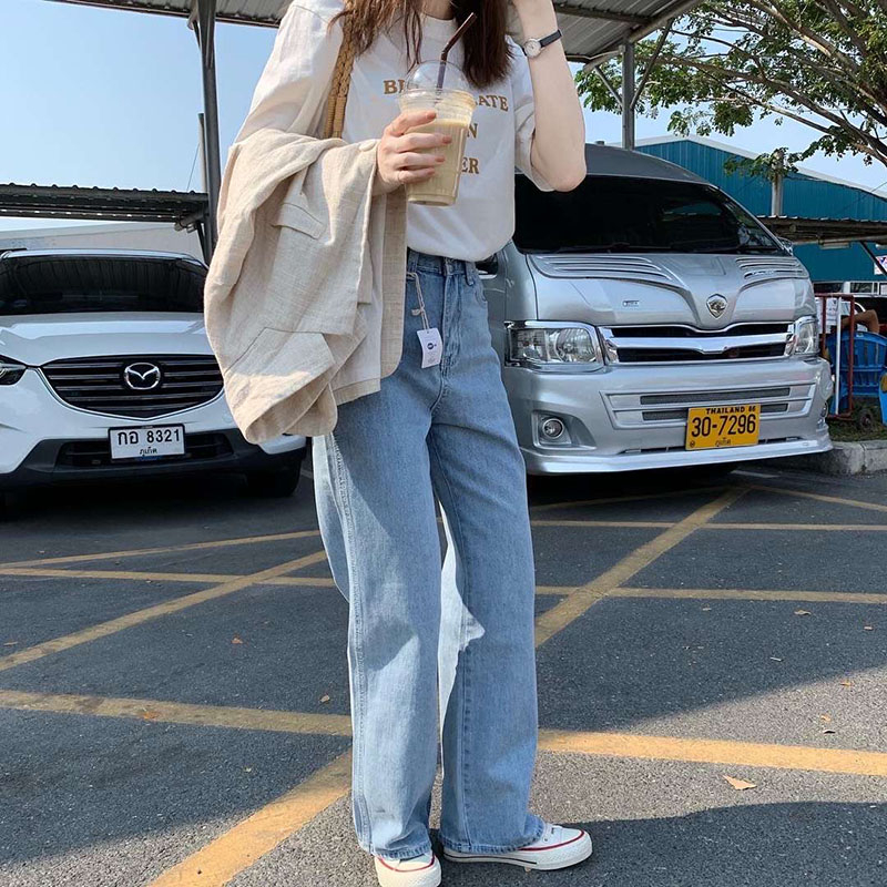 Image 4 - Lizkova Jeans Women Vintage Straight Pants Light Blue High Waist Dad Denim Pants 2020 Korean Style Streetwear MT6526Jeans   -