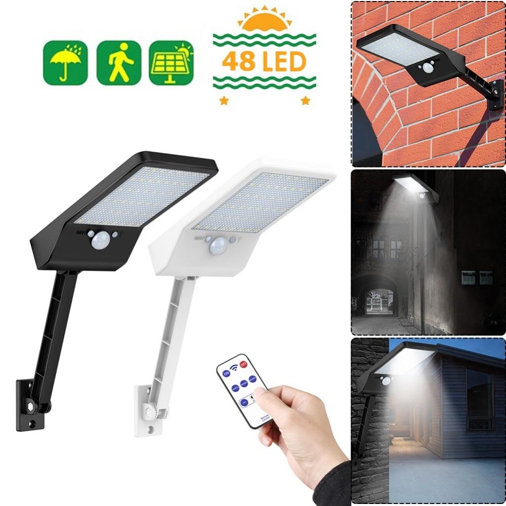 Remote Control Solar Light PIR Motion Sensor IP65 48LED Outdoor Wall Lamp #