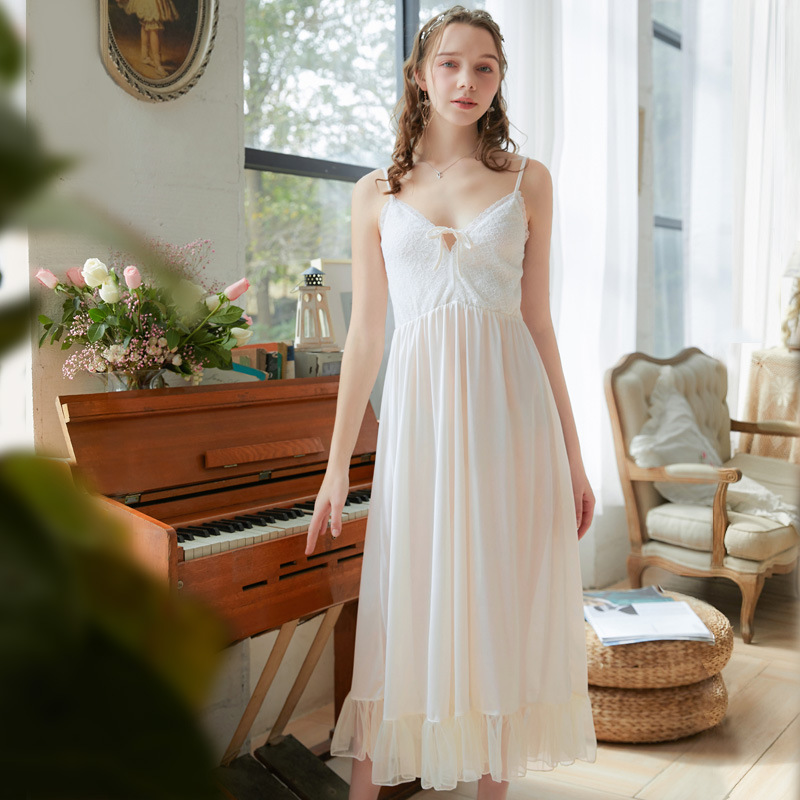 Summer Cool Lace Embroidery Women Sling Nightdress Nightgown Deep V-neck Bow Long Sleep Dress Loose Elegant Lady Sleepwear