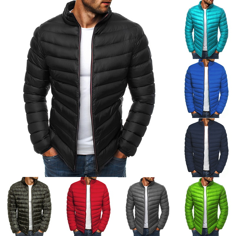 Adisputent 2020 Men's Lightweight Windproof Warm Packable Warm Jacket Male Autumn Winter Solid Zipper Slim Fit Coat Outwear Tops