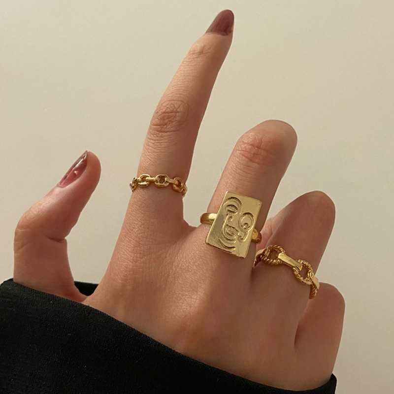 3 Pcs/Set Simple Design Gold Color Rings Set For Women Handmade Geometry Finger Ring Set Female Jewelry Gifts Wholesale