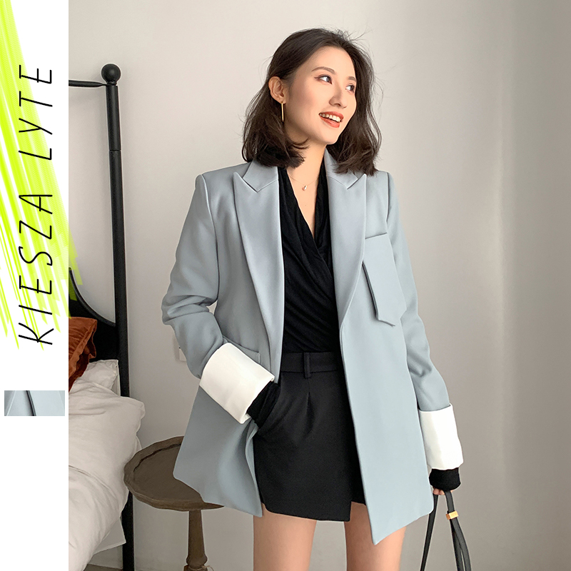 Woemn Suit Jacket Trendy Chic 2020 Spring Autumn New Fashion Casual Poket Patchwork Loose Suit Jacket Female