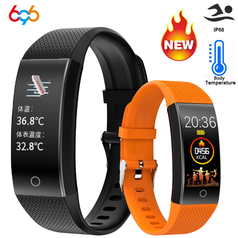 Smart Band Body Temperature Watch Fitness Tracker Bracelet IP68 Waterproof Sports Pedometer Fitness Thermometer Blood Pressure M