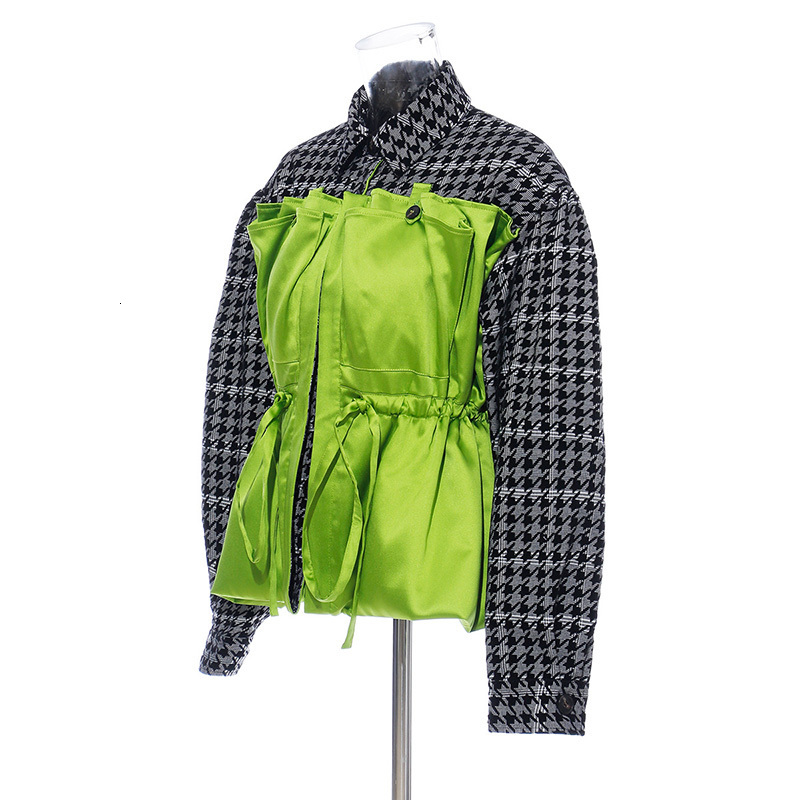 [EAM] Loose Fit Plaid Drawstring Split Big Size Jacket New Lapel Long Sleeve Women Coat Fashion Tide Spring Autumn 2020 1H203 4
