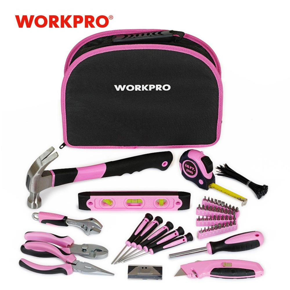 WORKPRO 103PC Pink Tool Set Ladies Hand Tool Set with Easy Carrying Pouch Home Set pro domácí kutily