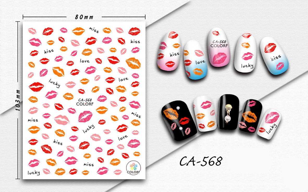 3D <font><b>Nail</b></font> <font><b>Sticker</b></font> <font><b>Sexy</b></font> Lip Kiss Lucky Design <font><b>Stickers</b></font> for <font><b>Nails</b></font> Manicure <font><b>Sticker</b></font> Decals Decoration <font><b>Nail</b></font> Art <font><b>Sticker</b></font> Accessories image