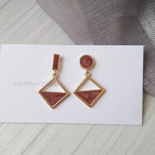 S925 needle New Asymmetrical Jewelry Earrings Geometric Brown Enamel For Women Dangle Earrings Drop Earring Modern Jewelry Gift the canterville ghost and other stories elementary level