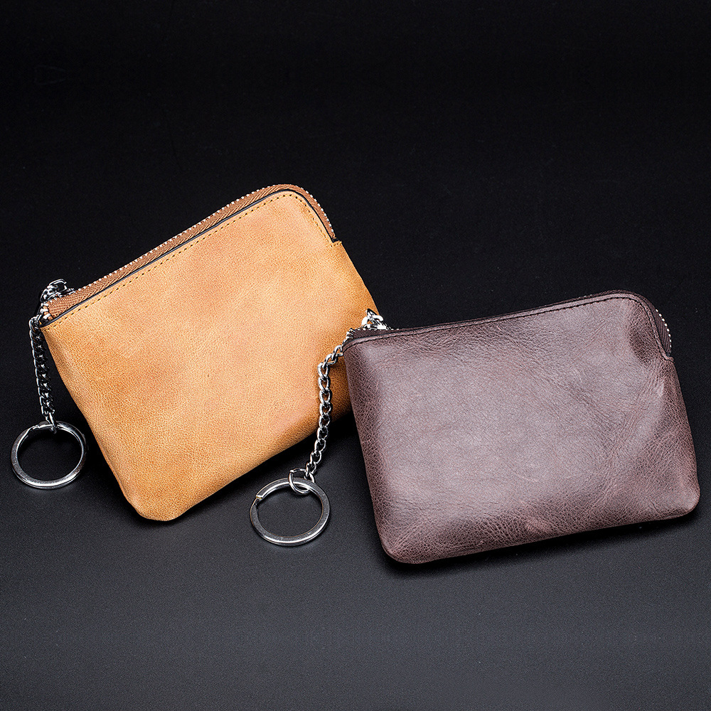 Thin Japan Of Purse Men Soft Genuine Leather Zipper Coin Purse Small Card Holder Women's Mini Wallet Simple