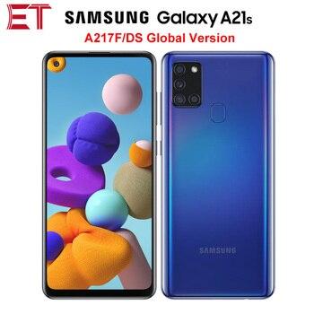 Перейти на Алиэкспресс и купить Глобальная версия Samsung Galaxy A21s A217F/DS 4G мобильный телефон 4 Гб 64 Гб Восьмиядерный 6,5 дюйм5000 мАч 4 камеры 48MP NFC Dual SIM Android 10