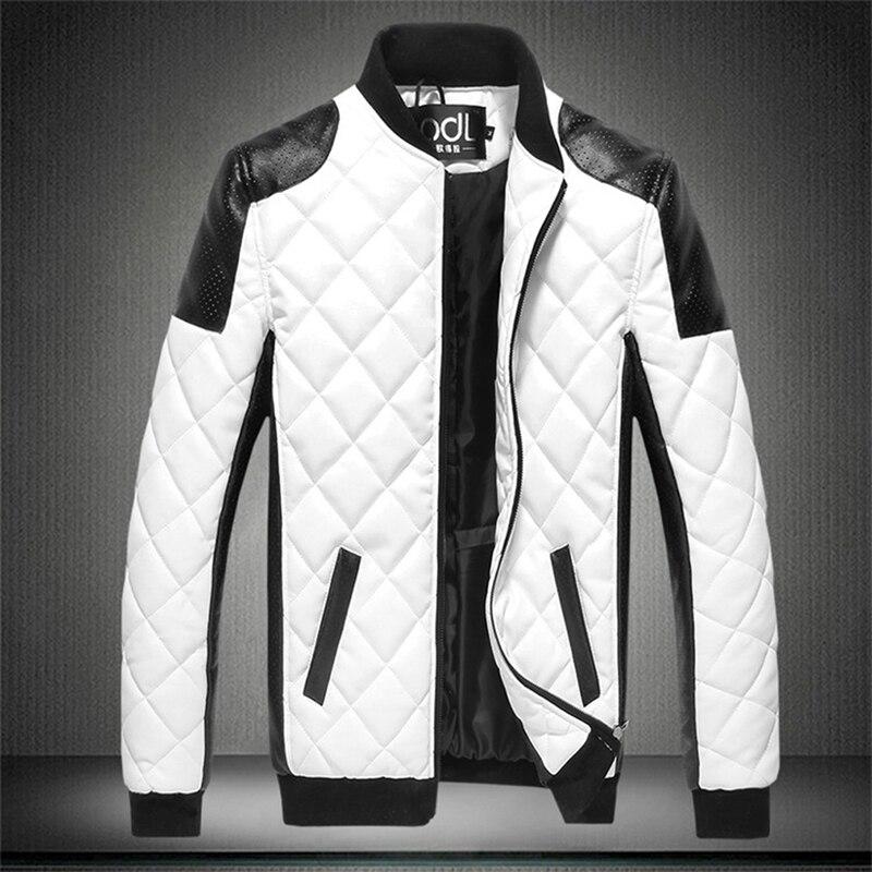 Autumn Men's PU Cotton Coat Black White Patchwork Leather Jacket Moto Biker Jacket Locomotive Outerwear Male Casual Coat