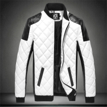 Autumn Men's PU Cotton Coat Black White Patchwork Leather Jacket Moto Biker