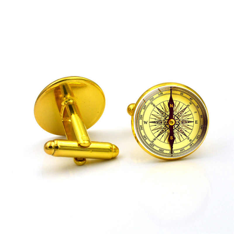 フレンチシャツカフスメンズコンパスビジネスボタン金属ガラス絶妙な高品質の高級シンプルな古典的なリンクギフト