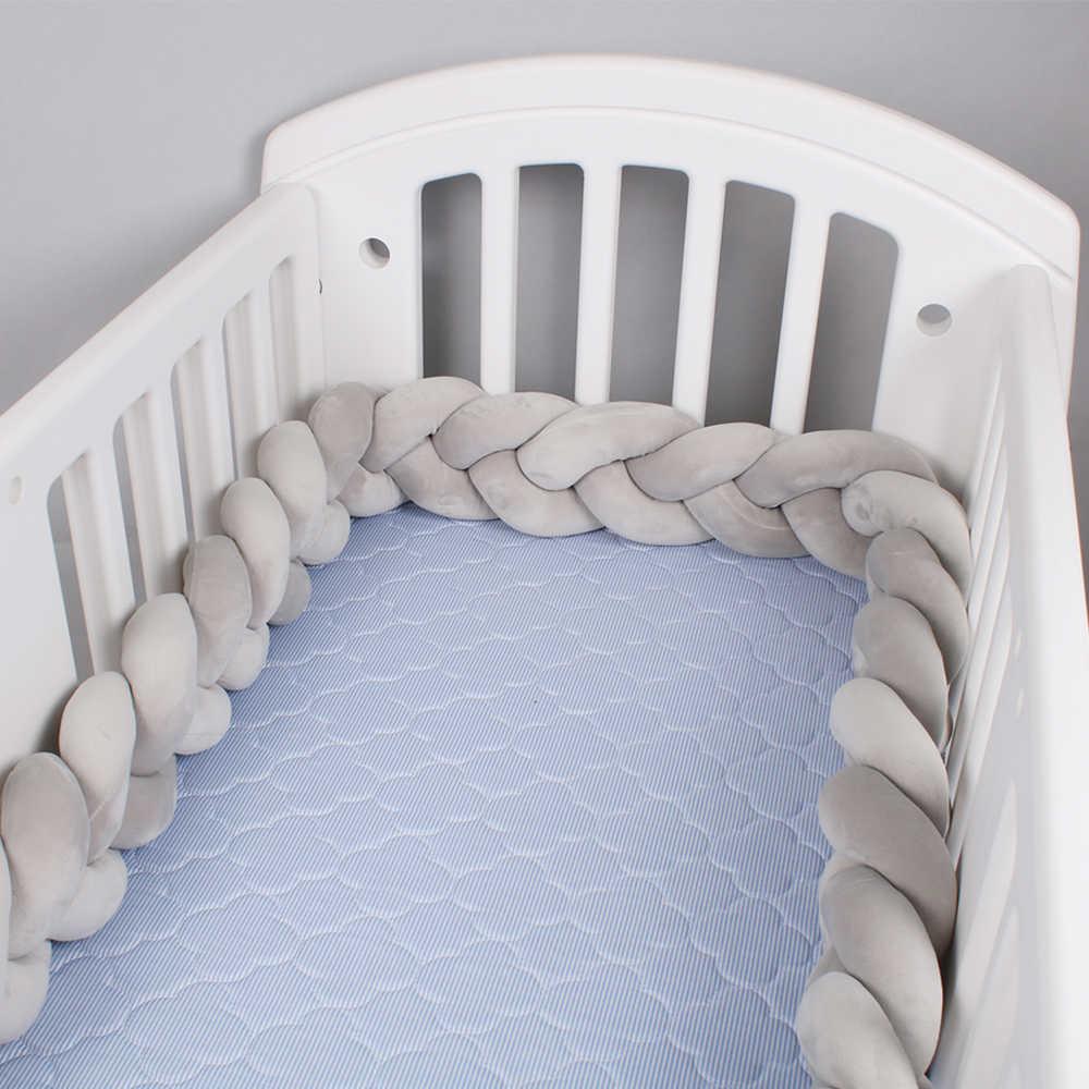 Baby Bed Bumper 1 M/2 M/3 M Braid Knoop Kussen Kussen Bumper voor Baby Bebe Wieg protector Cot Bumper Room Decor