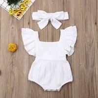 Pudcoco/Новейшая модная одежда для новорожденных девочек однотонный хлопковый Детский комбинезон без рукавов, комбинезон, повязка на голову, к...