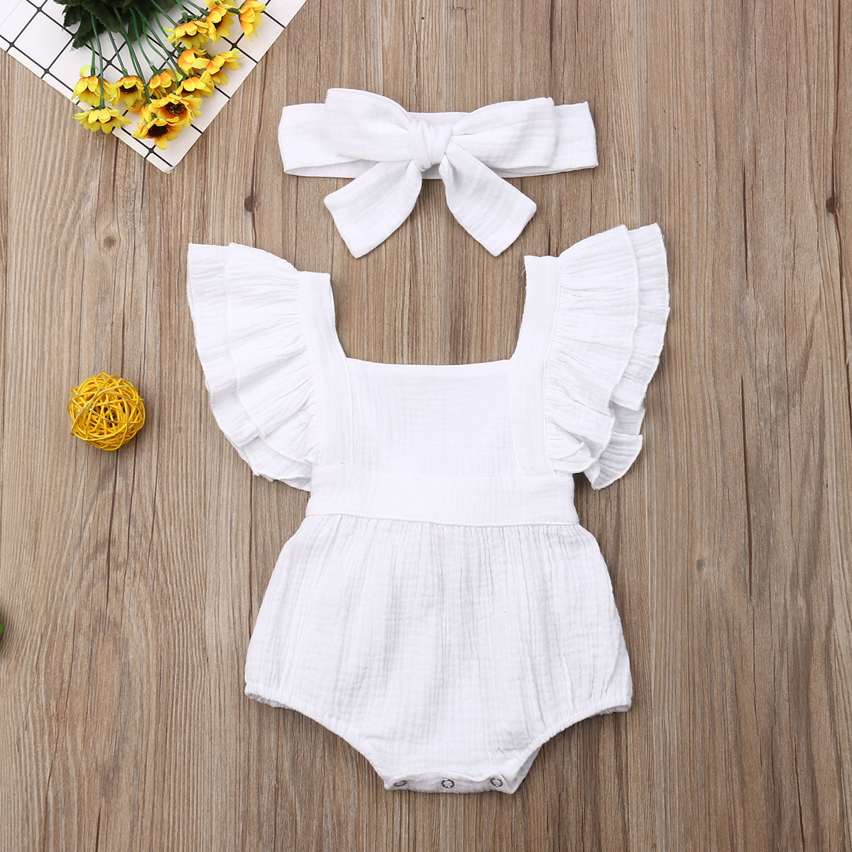 Pudcoco Newest Fashion Newborn Baby Girl Clothes Solid Color Sleeveless Cotton Romper Jumpsuit Headband 2Pcs Outfits Clothes