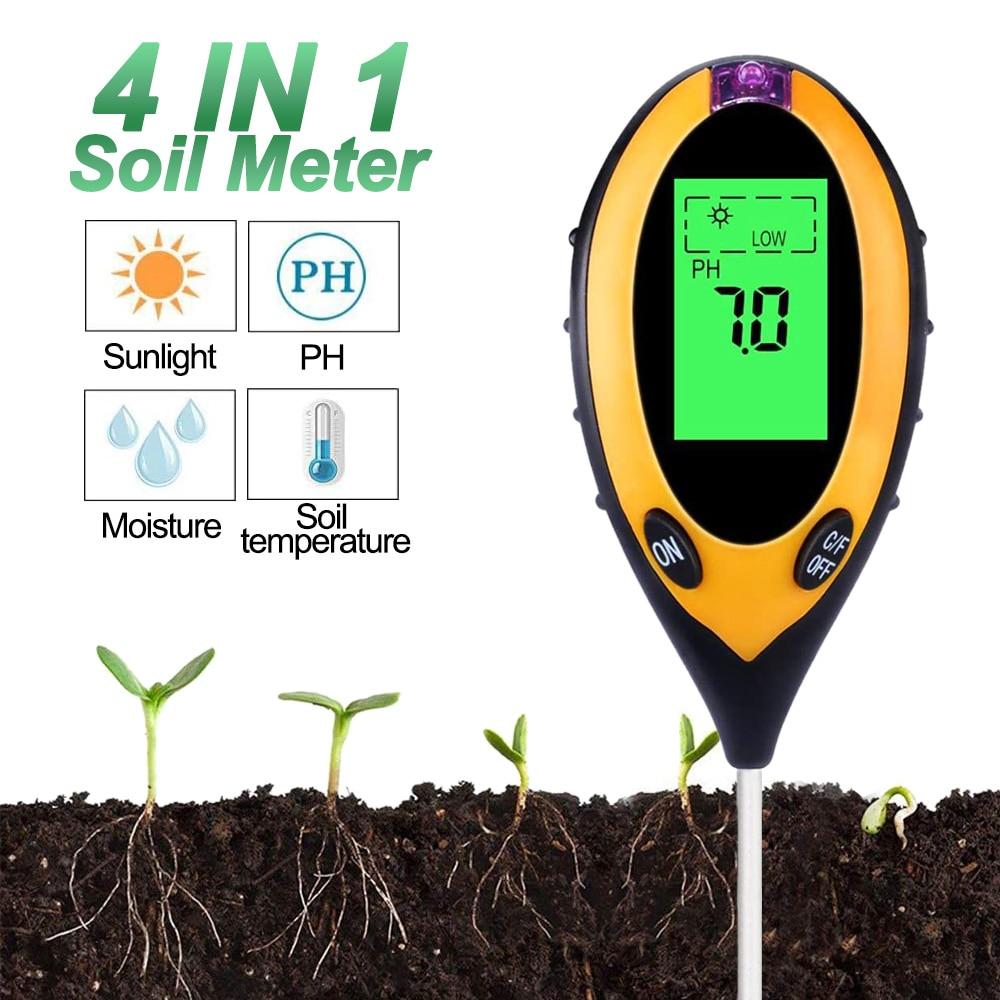 Soil Ph Meter 4in1 Digital Soil Ph Tester Moisture Monitor Temperature Sunlight Intensity Measurement Analysis Acidity Alkali