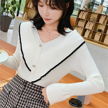 Fashion Autumn Women Sweater Korean Woman Knitted Sweaters Flare Sleeve V Neck Stretch Womens 2019 Winter