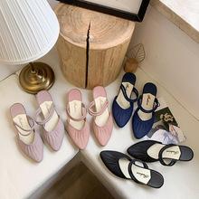 2021 nowe damskie sandały moda zewnętrzne kapcie letnie jednokolorowe buty koreańska wersja plastikowych niskich najlepsze buty tanie tanio WYS JL Niska (1 cm-3 cm) Wsuwane CN (pochodzenie) Na wiosnę jesień Na zewnątrz Płaskie z 0-3 cm Podręczne Dobrze pasuje do rozmiaru wybierz swój normalny rozmiar