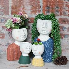 Creative Art Portrait Sculpture Flower Pot Human Face Family Flower Pot Balcony Garden Decoration Dried Flower Vase Decoration