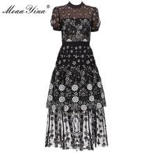MoaaYina קצר שרוול נשי שחור פרח דקו נצנצים צוות צוואר Midi שמלה
