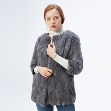 Free Shipping Winter Women #8217 s Genuine Rabbit Fur Coat Lady Natural Rabbit Fur Outerwear Real Fur Jacket Rabbit Fur Garment cheap KACCIVEL Office Lady Thick Warm Fur O-Neck Single Breasted REGULAR Three Quarter Thick (Winter) Small Piece Of Wide-waisted