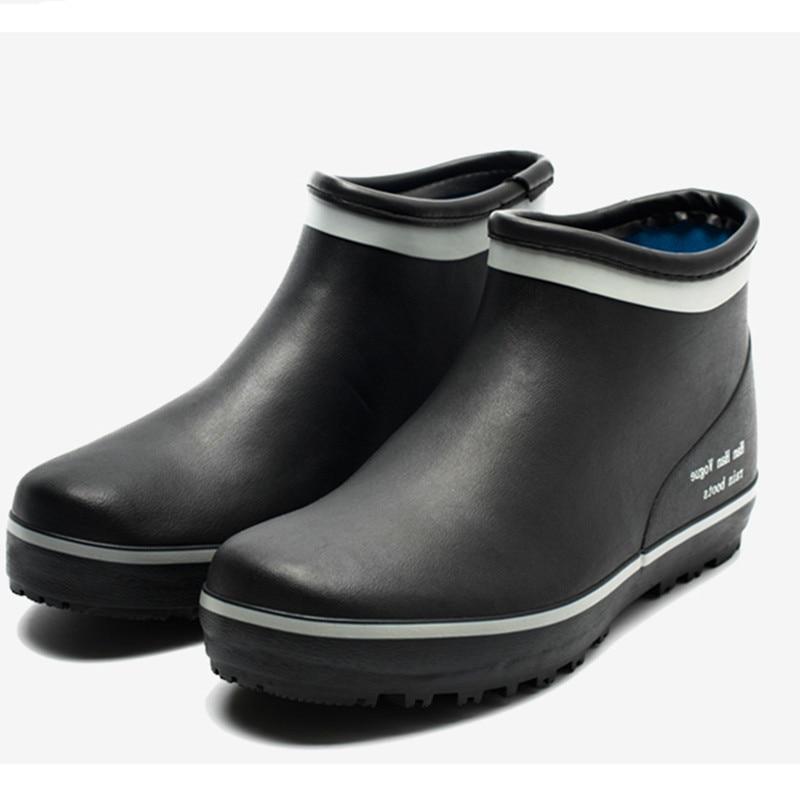 Men Rain Boy Water Rubber Black Ankle