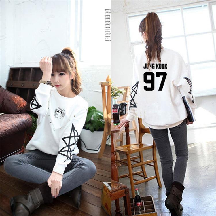 Bangtan Boys Kpop Sweatshirt White Moletom Feminino Harajuku K-pop Jin Suga Autumn Winter Long Sleeve Clothes For Women Hoodie