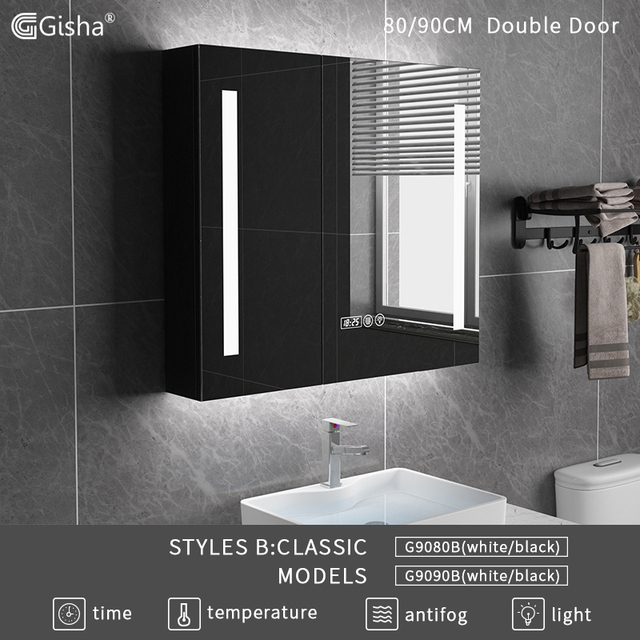 Glamo Smart Mirror LED Bathroom Mirror Wall Bathroom Mirror Bathroom Toilet Anti-fog Mirror With Touch Screen Bluetooth G8028