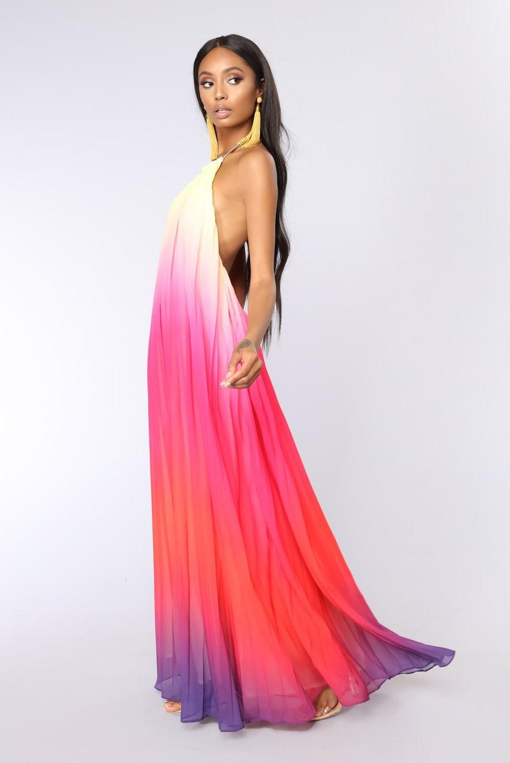 Летнее платье с лямкой на шее, без рукавов, с открытой спиной, плиссированные шифоновые платья макси, длинное повседневное богемное платье