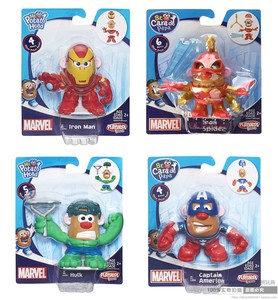 Hasbro 8cm pan ziemniak głowy 4 sztuk zestaw Marvel Avengers Mixable Mashable Hulk Iron Man kapitan ameryka Spider-Man figurka Mini Toy