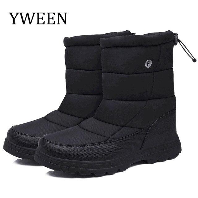 Yweenブーツ男性の雪のブーツ2020新ブラック防水男性の冬のブーツ豪華な非常に暖かいノンスリップ屋外綿靴靴