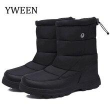 Yween botas homens botas de neve 2020 novo preto à prova dwaterproof água homens botas de inverno de pelúcia muito quente non slip ao ar livre sapatos de algodão calçados