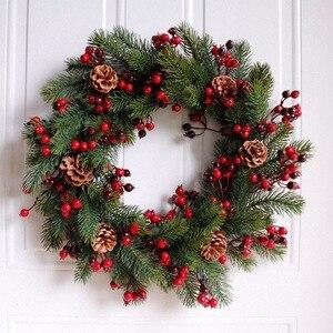 Image 3 - Trang Trí Nhân Tạo Giáng Sinh Khóa Vòng Hoa Xanh Chi Nhánh Với Nón Thông Dâu Đỏ Trong Nhà/Ngoài Trời Xmas Trang Trí 45Cm