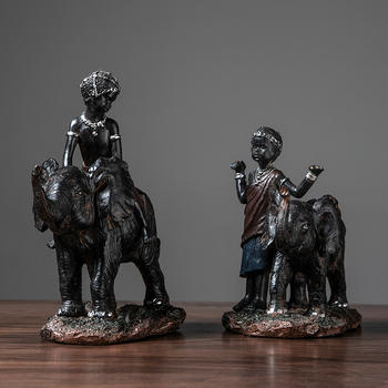 African Little Boy Riding On An Elephant Statues Sculptures Resin Decor Crafts Gifts Figurines Desktop Home Decor Accessories