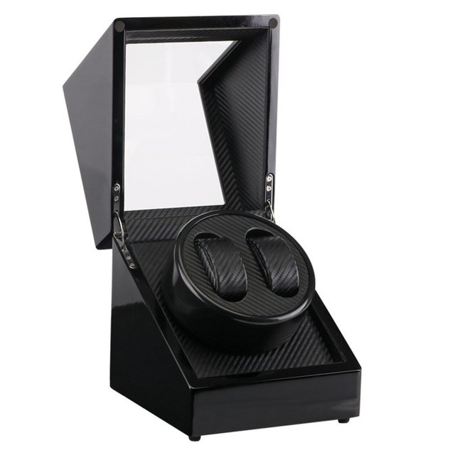 Uso Global enchufe Reloj 2 ranuras lacado madera reloj que gira devanadera caja de visualización silencioso Motor pantalla reloj de cuerda caja