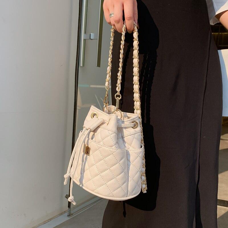 Elegant Female Plaid Bucket Bag 2019 New High Quality PU Leather Women's Designer Handbag Lock Chain Shoulder Messenger Bags