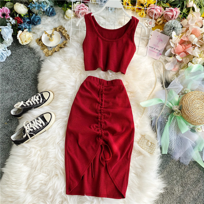 2020 Summer Women 2pcs Set Black/Red Vintage Round Neck Knitted Short Tops + Drawstring Bodycon Skirt Female Two Piece Set New