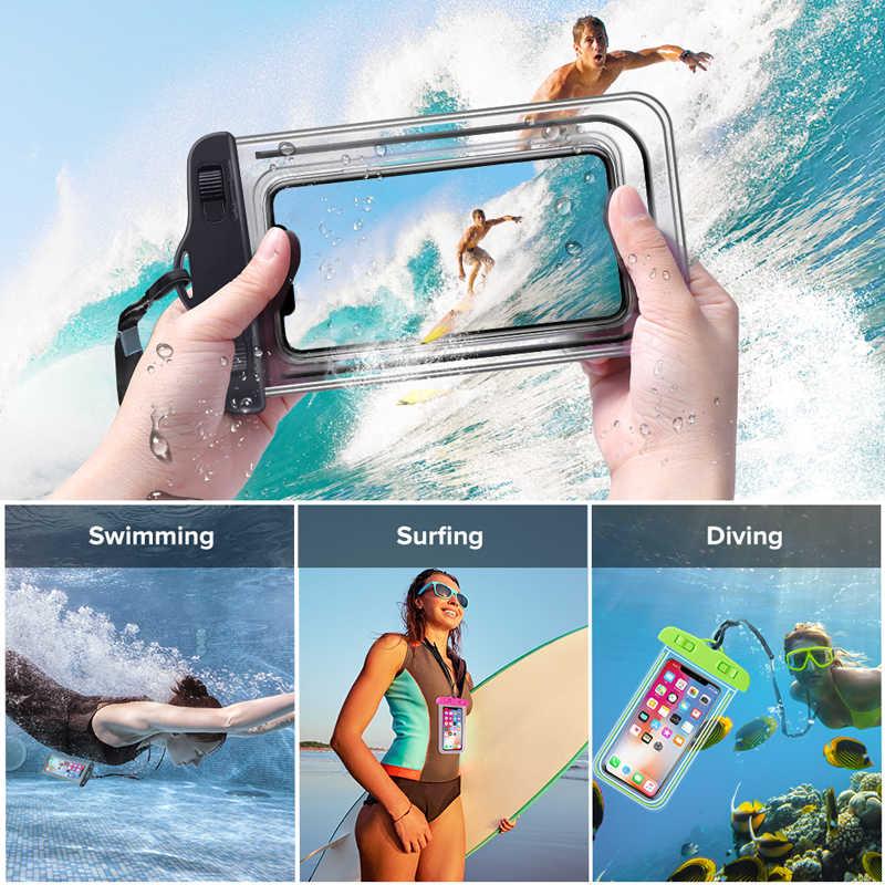 ユニバーサル防水ケース iphone xs 最大 xr × 8 7 6 プラスサムスン S9 S8 redmi カバー防水バッグ携帯電話ポーチ