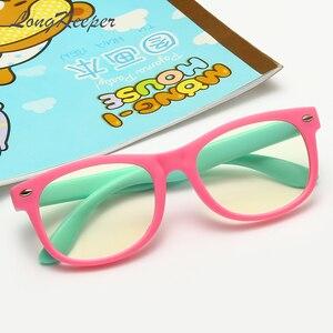 Image 2 - LongKeeper çocuklar Vintage UV400 gözlük yuvarlak gözlük çerçeve bilgisayar oyun şeffaf Lens Anti UV Anti mavi ışık perçin gözlük