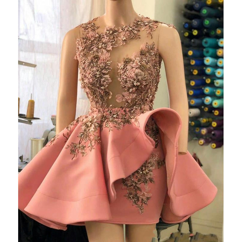 Peach Pink Short Prom Dresses Senior Peplum 3D Floral Appliques Beaded Sheer Neck Above Knee Illusion Prom Dress Removable Skirt