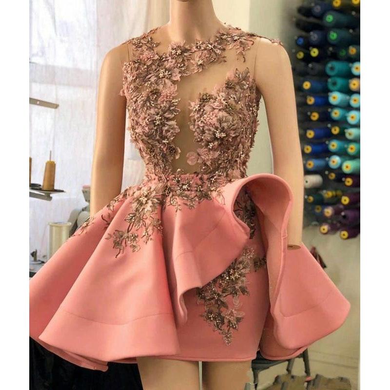 Peach Pink Short Prom Dresses Senior Peplum 3D Floral Appliques Beaded Sheer Neck Above Knee Illusion Prom Dress Removable Skirt