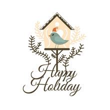 DiyArts Dies Cutting Happy Holidays Bird House Metal for DIY Scrapbooking Craft Card Embossing Die Cut New Template